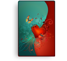 Red Heart with Butterfly POSTCARD Canvas Print