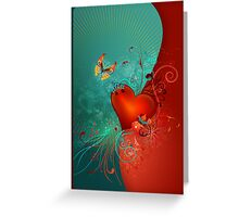 Red Heart with Butterfly POSTCARD Greeting Card