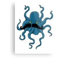 Octopus with a Mustache Metal Print