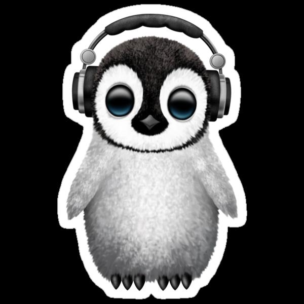 Quot Cute Baby Penguin Dj Wearing Headphones Quot Stickers By Jeff