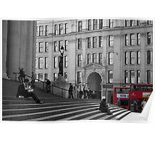 London Buses and the Steps of St Paul's Poster