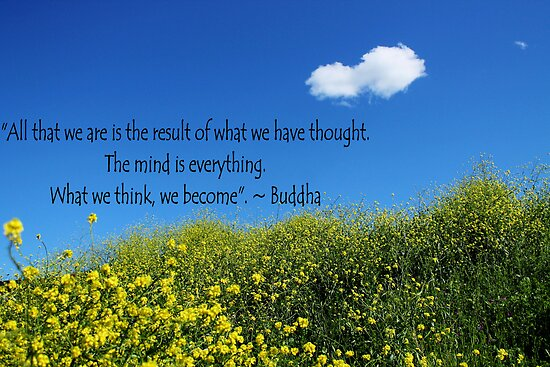 Buddha Quote on Blue Sky and Fluffy White Cloud by SJBroadmeadow