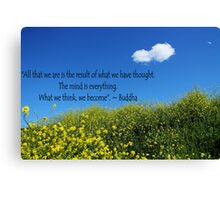 Buddha Quote on Blue Sky and Fluffy White Cloud Canvas Print