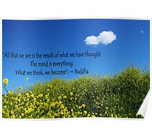 Buddha Quote on Blue Sky and Fluffy White Cloud Poster