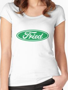 """""""Fried"""" Ford logo parody Women's Fitted Scoop T-Shirt"""