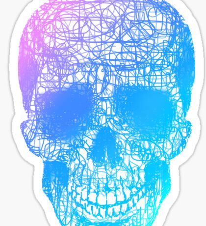 Rainbow Scribble Skull Sticker