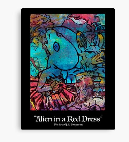 Alien in a Red Dress Canvas Print