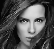 Kate Beckinsale Digital Art Portrait by David Alexander Elder