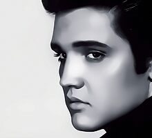 Elvis Presley Digital Art Portrait by David Alexander Elder