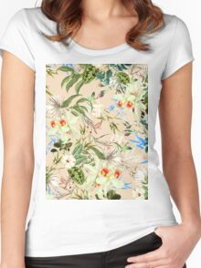 Retro Tropical Flowers Women's Fitted Scoop T-Shirt