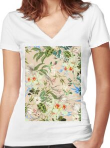 Retro Tropical Flowers Women's Fitted V-Neck T-Shirt