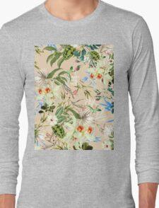 Retro Tropical Flowers Long Sleeve T-Shirt