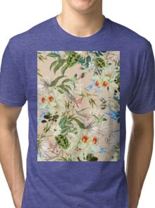 Retro Tropical Flowers Tri-blend T-Shirt