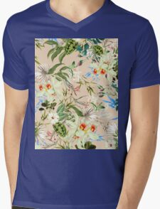 Retro Tropical Flowers Mens V-Neck T-Shirt