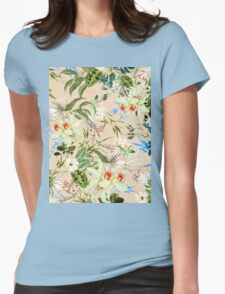 Retro Tropical Flowers Womens Fitted T-Shirt