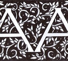 William Morris Inspired Monogram AA by Donna Huntriss