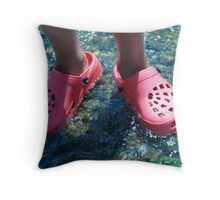 Pink Crocs  Throw Pillow