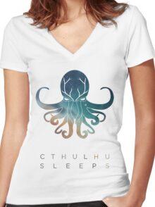 Deadmau5 Cthulhu Sleeps Women's Fitted V-Neck T-Shirt