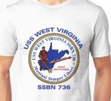 USS West Virginia (SSBN-736) Crest Unisex T-Shirt