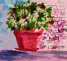 Potted plants along wall, watercolor by Anna  Lewis