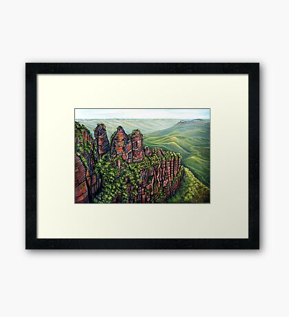 Etched in Time, Blue Mountains Framed Print