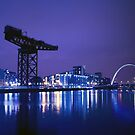 The River Clyde At Night by Aj Finan