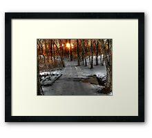 Evening Light on the Snow Covered Foot Bridge Framed Print