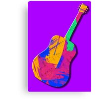 Guitar Shape Wild Paint Brush Colors  Canvas Print