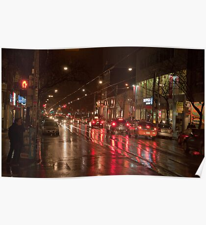 Queen Street Looking West In The Evening Rain Poster