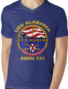 USS Alabama (SSBN-731) Crest for Dark Colors Mens V-Neck T-Shirt