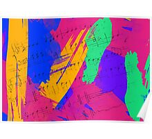 Wild Paint Brush Colors and Music Sheets Poster