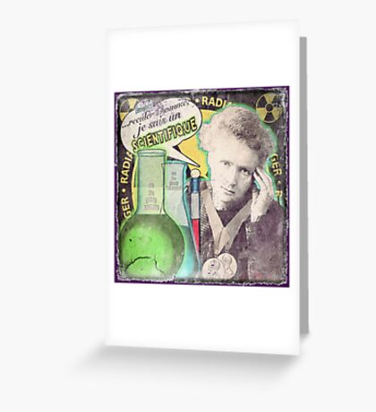 Popular Science: M. Curie (French) distressed Greeting Card