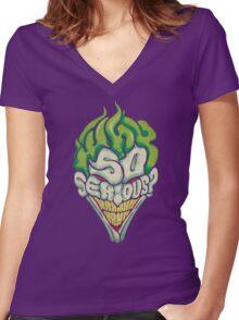 Why So Serious? - Joker Women's Fitted V-Neck T-Shirt