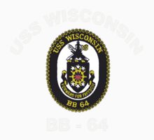 USS Wisconsin (BB-64) Crest for Dark Colors One Piece - Short Sleeve