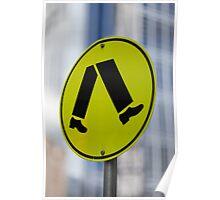 pedestrian walk sign Poster