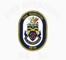 USS Missouri (BB-63) Crest for Dark Colors One Piece - Short Sleeve