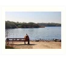 Pondering the meaning of life beside the pond.1  Art Print