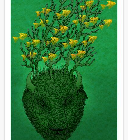 Sea Buffalo Dreaming Green Heart  Sticker