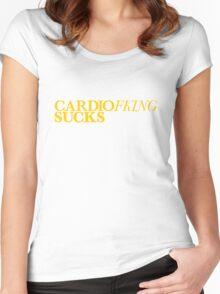 Cardio Sucks - Yellow Women's Fitted Scoop T-Shirt