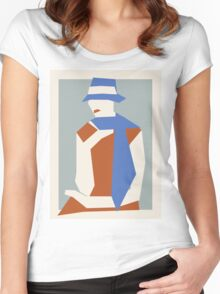 Woman In Blue Hat Women's Fitted Scoop T-Shirt