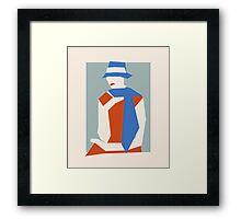 Woman In Blue Hat Framed Print