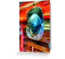 Helmet Hanging on Fire Truck Greeting Card