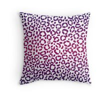 Magenta and Purple Leopard Print Pattern Design Throw Pillow