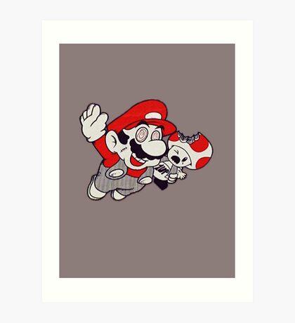 Mario Flying Mushroom Art Print