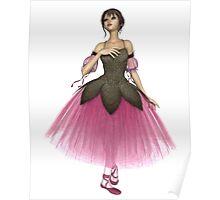 Pink Flower Ballerina in Romantic Tutu Poster