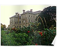 Looking Over Rose Bushes from the Cliff Walk at the Breakers Poster