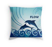 Dolphin Flow  Throw Pillow