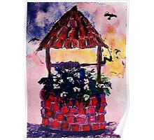 Daughters inherited wishing well, watercolor Poster