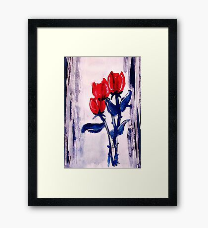 3 Red roses to end your week with,watercolor Framed Print