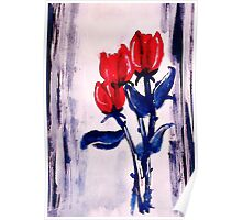 3 Red roses to end your week with,watercolor Poster